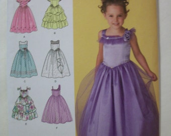 Simplicity 2463 Child's (Size AA 3,4,5,6)  special occasion dress in two lengths with bodice and trim variations