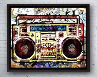 Large Metal Art, Metal Print, Framed Canvas Art, Large Canvas Wall Art, Cool Canvas Art, Metal Art, Urban Canvas, Modern Canvas Art, Boombox