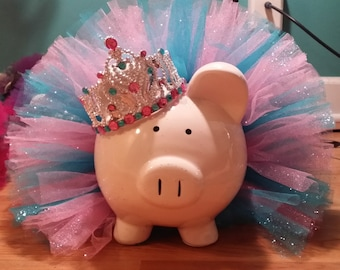 Large Pink and Blue Glitter Princess Tutu Piggy Bank with Jewels