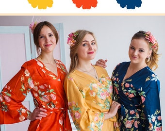 Burnt Orange, Mustard and Navy Blue Wedding Color Bridesmaids Robes - Premium Rayon Fabric - Wider Belt and Lapels - Wider Kimono sleeves