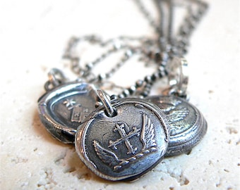 Wax Seal Jewelry, FOLLOW Your DREAMS Talisman, Wax Seal Pendant: Double Wings, Maltese Iron Cross,Mens Jewellery, Religous Medal, Medallion,