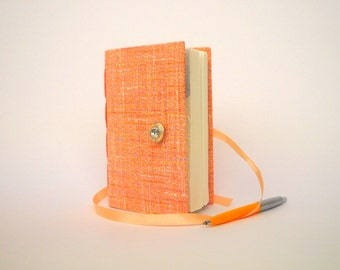 Peach journal notebook handmade journals lined journal pink orange journal tweed journal notebook diary writing journal for women or girls