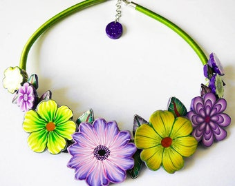 Bohemian necklace buna cord green purple flower for woman in polymer clay handmade