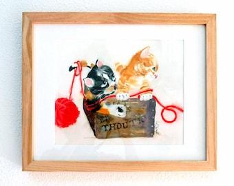 Wall art decor, Kitten painting, Cat wall art, Original, Kitty watercolor paintings, Kid's room, Child's wall decor, Nursery artwork, LaBerg