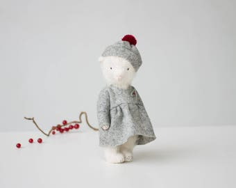Made To Order White Mohair Teddy Bear Holly Embroidered Dress 7 Inches, Stuffed Animal, Handmade Toy,Personalized Christmas Gift For Her