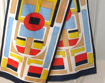 1960s modern art Scarf, mid century retro, colorful block print neck wrap. Vintage mod festival wear. Long navy blue, red, gold neckerchief.