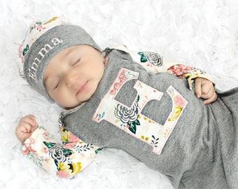 Personalized baby etsy baby girl clothes personalized baby gift newborn girl take home outfit layette gown custom baby gift negle Image collections
