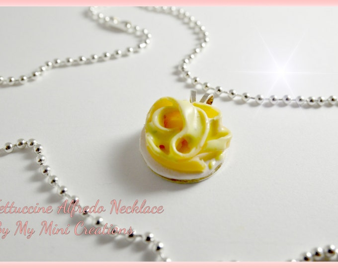 Fettuccine Alfredo Necklace, Miniature food, Miniature Food Jewelry, Food Jewelry