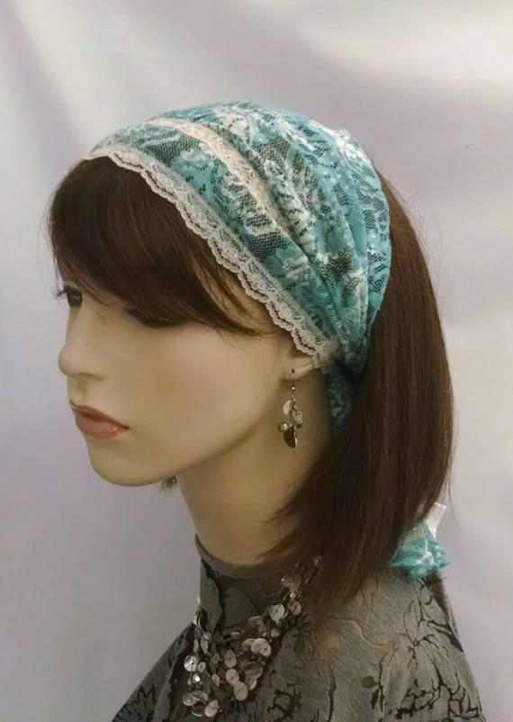 Beautiful lacey headband, headbands, half head covering, frisette