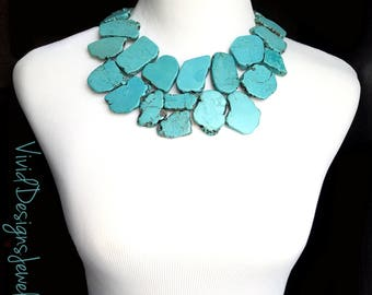 Chunky Turquoise Necklace- Turquoise Statement Necklace - Chunky Turquoise  Jewelry - Turquoise Stone Necklace - Unique Jewelry