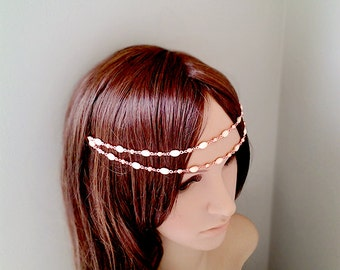 Pearl bridal hair accessory head rose gold statement back head