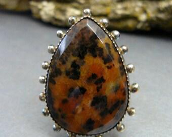 Artisan Cheetah Jasper Ring, Statement Ring, Artisan Ring, Sterling Silver, Art Jewelry, Artisan Jewelry, Gemstone, Industrial, Faceted
