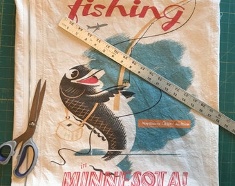 Vintage fishing in Minnesota poster pillow