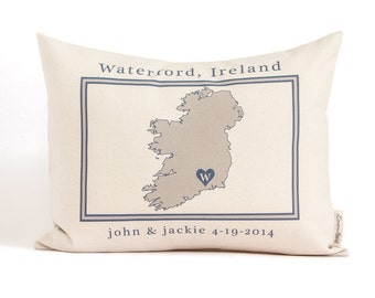 Country Map or Region Pillow, Anniversary Gift, Traveler Gift, 2nd Anniversary, Gift For Him, Cotton Anniversary