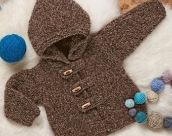Baby Cardigan With Hood, Easy & Quick Knit, Knitting Pattern. PDF Instant Download.