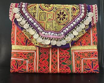 Vintage Embroidery Fabric Banjara Clutch