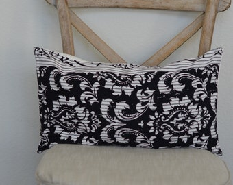 12X20 Reality Check Collection Black and White Lumbar pillow ticking pillow cover