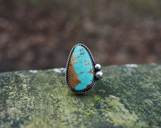 Natural Number 8 Turquoise Ring, Turquoise Sterling Silver Ring, Turquoise Silver statement ring