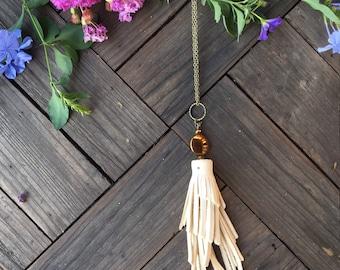 White Leather Fringe Necklace