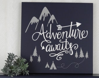 Adventure Awaits - Wooden Sign, Adventure Boy Nursery Decor Painted in Navy Blue and Grey