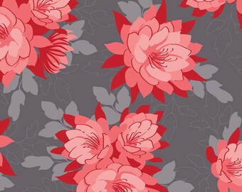 Red & Gray Floral Fabric, Riley Blake Desert Bloom C5350 Desert Main Gray, Amanda Herring, Gray, Coral, and Red Floral Quilt Fabric, Cotton