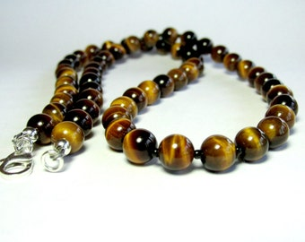 Mens Tiger Eye Necklace, Mens Beaded Necklace, Silver Necklace, Tiger Eye Jewellery, Gemstone Necklace, Necklace for Men, Handmade Necklace
