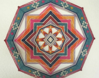 Heart of Mexico, 24 inches, 8-sided Ojo de Dios, in stock by Jay Mohler