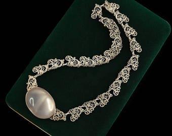 Antique Nouveau Sterling 835 Silver Austrian Filigree Moonstone Necklace | Vintage | 56.0 Grams | 76.3 Carats | Neoclassical | Handmade | L