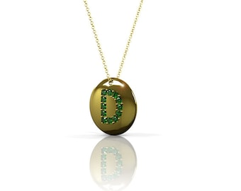 Initial Disc necklace, Crystal initial necklace, Gold Green necklace, Green Gemstone necklace, Custom name necklace, Personalized Necklace.