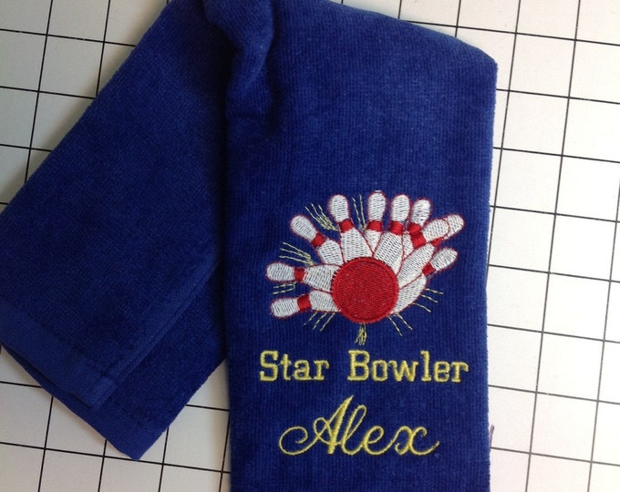 Embroidered Custom Personalized Bowling towels, embroidered towels, bowling, personalized gift,
