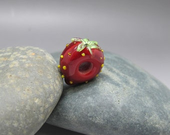 Strawberry - Large Hole Lampwork Bead