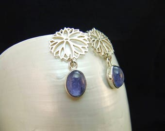 Handmade Tanzanite Sterling Silver Earrings