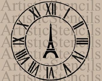 STENCIL Eiffel Tower Antique Clock  Various sizes