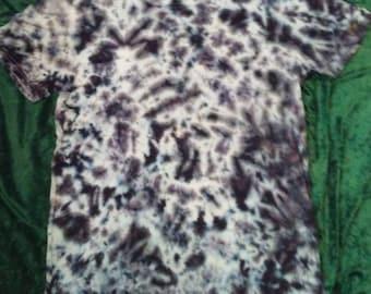Adult Medium Tie Dye Black and White Crinkle TieDye T Shirt