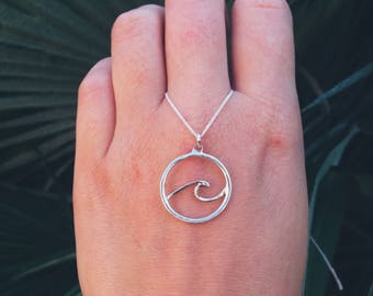 Handmade Sterling silver necklace with gold wave, gold wave necklace