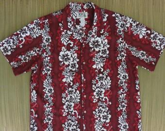 Red Hawaiian Shirt Vintage 80s KY'S Hibiscus Luau Aloha Mens - 2XL - Oahu Lew's Shirt Shack