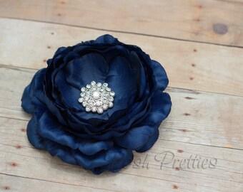 Navy Flower Hair Clip Deep Blue Flower Hair Clip Rhinestone Flower Hair Clip Ruffled Flower Hair Clip Headband