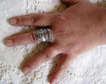 Sterling Silver Spoon Ring,  Spoon Ring, Spoon Jewelry, Fish, Fish Ring,  fisherman, fisherwoman, Tuna Fish, Made by Mechanics, c. 1900