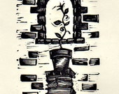 Literacy -  Linocut print...