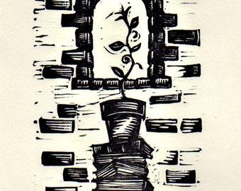 Literacy -  Linocut print