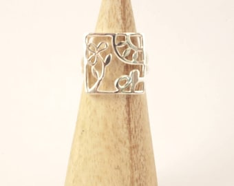 Ring silver Sterling meadow openwork design