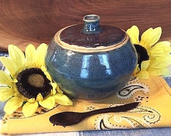 Blue and Violet Speckled Ceramic Lidded Jar