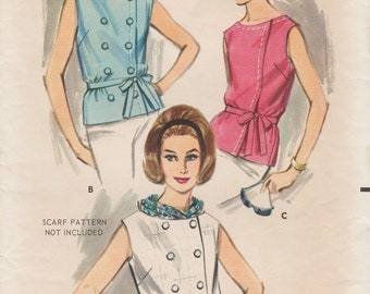 Butterick 3358 / Vintage 1960s Sewing Pattern / Blouse Shirt Top / Size 14 Bust 34