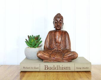 Buddha figurine, Vintage Wood Buddha, Statue, Zen decor, Home decor, Enlightened One, Accents, Gifts, Wood Carved Sitting Buddha