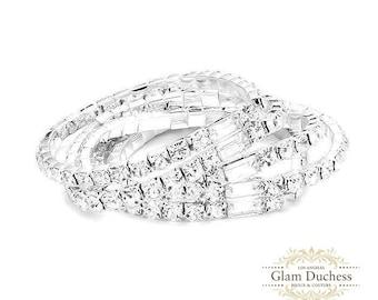 Bridal bracelet, Rose Gold wedding bracelet, Bridesmaid jewelry, Silver Gold evening bracelet, Bridesmaid bracelet, Prom bracelet jewelry