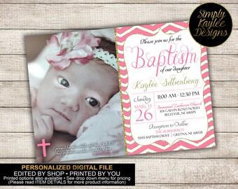 Girl's Pink Baptism Invitation