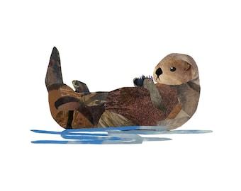 Sea Otter 8.5 x 11 Print of Original Collage
