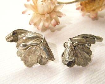 "Vintage Earrings, Sterling Silver, Scew Back, Art Nouveau FLOWERS, 1 1/8"", ANIMAL CHARITY Donation"