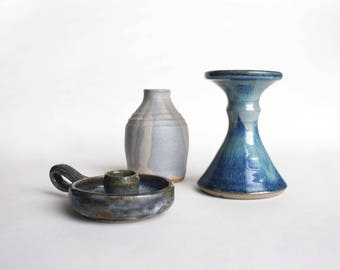 Vintage pottery set: 2 / 3 candle holders/  vase. Instant Collection of Three blue Ceramic Stoneware objects, bohemian decor
