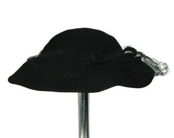 Vintage 1930's Black Felt Hat